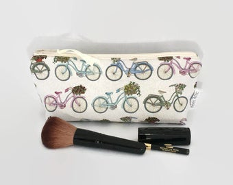 Bicycle Makeup Bag, Toiletry, Wash Bag, Zip Pouch, Pencil case,  Bag, Fabric Pouch, Cosmetic Bag, Gift for her, Mothers Day, zipper pouch