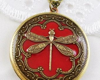 Vintage Red Dragonfly Brass Locket, Red Brass Locket, Brass Locket, Valentine Gift For Her.