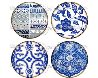 Instant Download - ASIAN BLUE PORCELAIN (8) Digital Collage Sheet - 12 circles 2.5 inch - 63mm Pocket Mirror - see promo offer