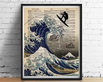 Japanische Welle SURFER Druck, große Welle Kanagawa Kunst, Mädchen oder junge Surfer Optionen, Poster Illustration, Strand Dekor, Wörterbuch Page Giclee