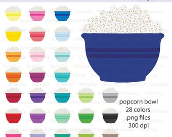 Bowl of Popcorn Icon Digital Clipart in Rainbow Colors - Instant download PNG files