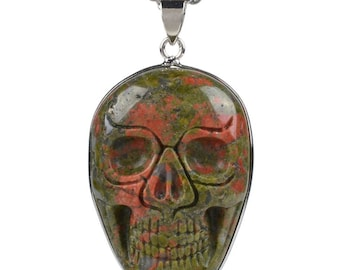 35mm Unakite carved skull pendant focal bead (pendant only)