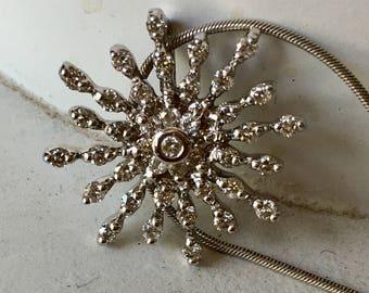Diamond Snowflake Sun Burst Pendant Necklace - 14k White Gold