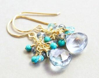 Gray Drop Earrings, Turquoise Cluster, Mint Dangle Earrings, Handmade