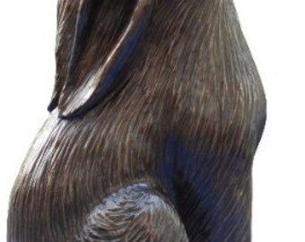 "Bronze Moongazing Hare Sculpture 6 1/2"" high"