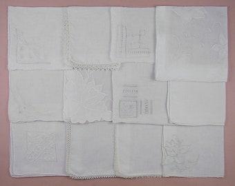 Wedding Hanky Lot,Vintage Hanky Lot,One Dozen White Wedding Vintage Hankies Handkerchiefs (Lot #103)