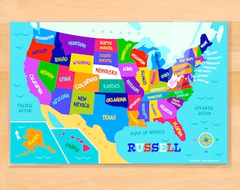 Kids, Personalized, Placemat, Laminated Placemat, USA map, Birthday Gift, Map Art, Table Decor, Map, laminated placemat, kids placemat