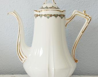 Antique Limoges Coffeepot, Art Deco Style, France