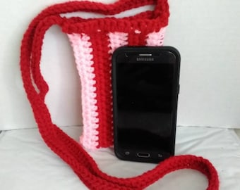 Valentine's day Pink and Red Cross Body Cell Phone Pouch Cozy Crochet