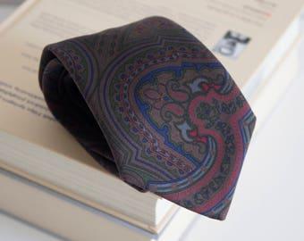 Vintage silk tie, mens necktie, silk neck tie, floral tie, paisley mens tie cravat cravatte / navy blue gray red