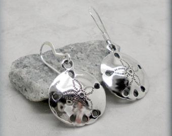 Sand Dollar Earrings, Sterling Silver, Beach Jewelry, Ocean Earrings, Sanddollar Earrings, Ocean Jewelry, Beach Jewelry, Friendship