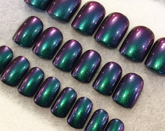 Green-Purple Duo Chrome Fake Nails * Faux Nails * Glue On Nails *Green Nails * Teal Nails * Purple Nails * Color Shift * Chameleon * Gloss