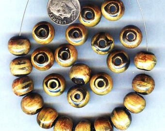 NEW Stunning 12mm Burnt Horn Roundish High Quality Beads 12 pieces