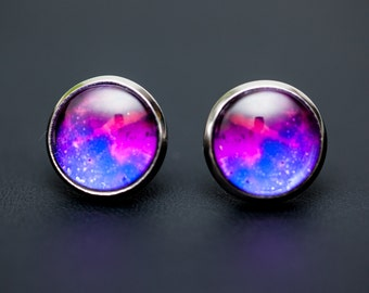 Pink/Purple Nebula Earrings no. 04, Original Illustration, Stud Posts, Space Jewelry, Nebula Jewelry, Galaxy Jewelry, Cosmic Jewelry