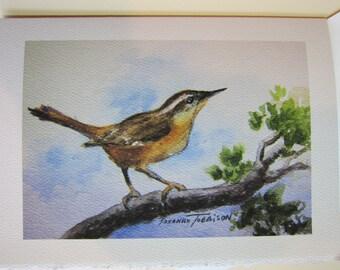 Carolina Wren Watercolor print 5 x 7 Note Card WatercolorsNmore Handmade Songbird
