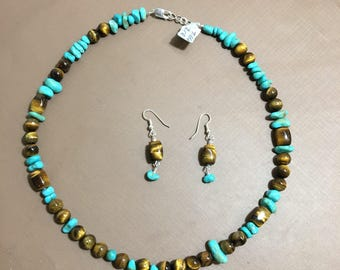 Tiger eye and Turquoise necklace and earrings