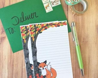Woodland fox stationery letter set