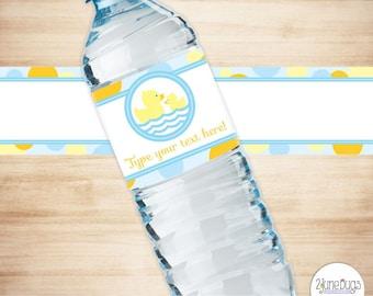 Rubber Duck Water Bottle Labels - Rubber Duck Baby Shower - Boy Baby Shower - Neutral Baby Shower - PRINTABLE, INSTANT DOWNLOAD