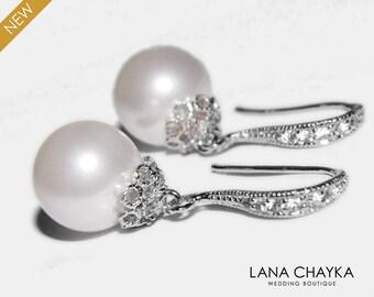 Pearl Bridal Earrings Swarovski 10mm White Pearl Silver Cz Earrings Wedding Pearl Dangle Earrings Pearl Drop Earrings Bridesmaids Earrings