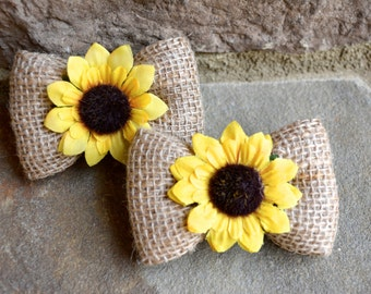 Hair Bows/Burlap and sunflowers hair bows,burlap and sunflowers hair bows for girls, set of two burlap hair bows