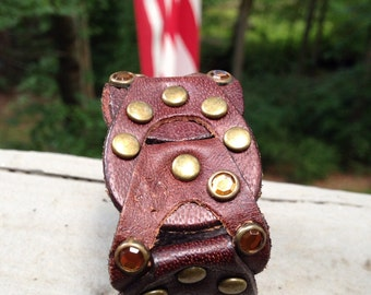 Leather cuff, recycled, jeweled leather cuff, cuff bracelet, bracelet, leather bracelet, repurposed