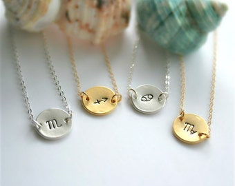 Zodiac Necklace, Silver or Gold Zodiac Jewelry, Zodiac Sign Necklace, Constellation Necklace, Zodiac Disc Necklace, Personalized Gift