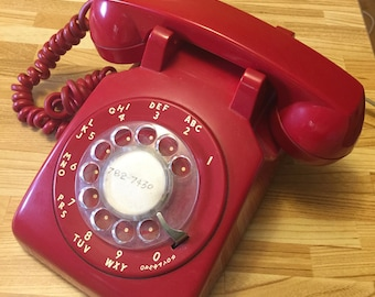 Vintage Rotary Dial Telephone, Vintage Red Phone ITT Telecommunications