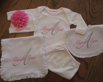 Monogrammed Baby Girl Gown Monogrammed Gown Personalized baby girl set