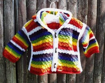 Crocheted Hooded Cardigan