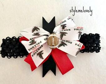 Atlanta Falcons Baby girl boutique Bow Crocheted Headband