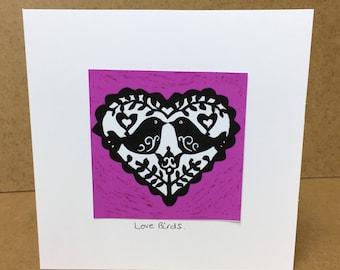 Fine Art Valentine or Anniversary Card - Love Birds (pink) Free Postage