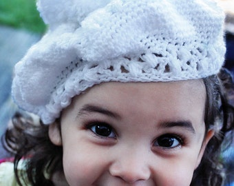 12 to 24m White Slouch Hat Pom Pom Hat Crochet Baby Beret White Beret Hat Sparkly Baby Hat Toddler Photo Prop