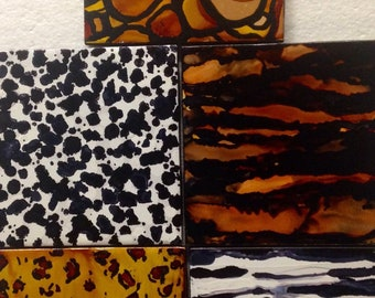 Coaster art, faux animal print coasters, alcohol ink coasters, zebra, cheetah, leopard, giraffe, tiger,hand painted coasters