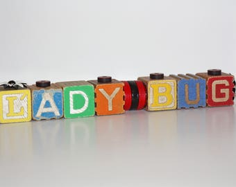 """Wood """"LADYBUG"""" Decoration / Sign made from Antique Children's Toy Building Blocks - Repurposed"""