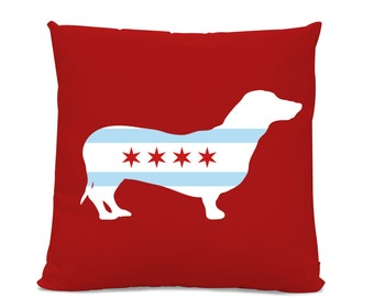 Chicago Flag Dachshund Pillow - Chicago Home Decor - Dachshund pillow - dog breed silhouette pillow - dog home decor - Dog Pillow - Doxie