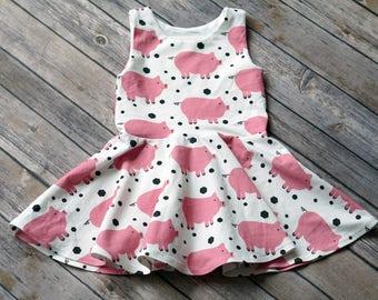 Pig Dress. Piggie Dress. Baby Dress. Toddler Dress. Little Girl Dress. Twirl Dress. Twirly Dress. Comfy Dress. Play Dress. Farm Dress