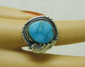 Vintage Native American BlueGreen Turquoise Ring