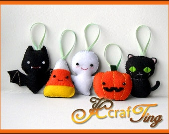 Felt Halloween Ornaments PDF pattern- Bat / Ghost / Pumpkin / Candy Corn / Black Cat