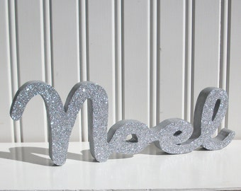 Silver Glitter Noel Letter Sign, Christmas Decoration, Mantle Decoration, Holiday Decoration, Wood Noel Sign