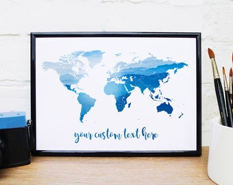 Custom World Map Wall Art Mountains Quote Print Adventure Map Ski Alps Photo A4 A3 A2 A1 Travel Quote Wanderlust Map Personalised Poster UK