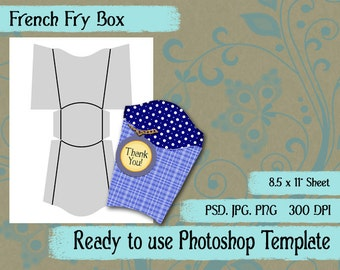 Scrapbook Digital Collage Photoshop Template, French Fry Favor Box