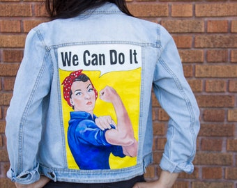Rosie the Riveter Hand Painted Denim Jacket