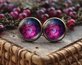 Purple Nebula stud earrings, Violet Nebula earrings, Space earrings, Galaxy Jewelry, Nebula earrings, Violet earrings, Purple earrings