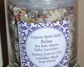 Organic Bath Salts~ RELAX~ French Lavender~ Lemon~ Vetiver~16 ounces ~All Natural
