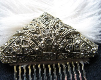 Art deco hair comb | 1920s | vintage hair piece | rhinestone | wedding headpiece | something old | silver | ostrich feathers