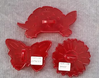 HRM Crown Red Plastic Spring/Summer Set of Butterfly, Daisy & Turtle Cookie Cutters