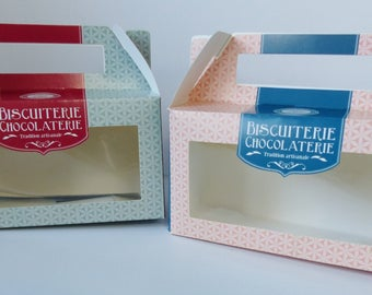 set of 2 box cookie chocolate cardstock with clear window to see inside chocolate biscuit