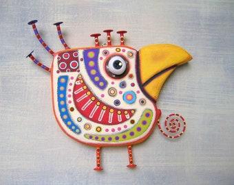 Art Chicken 4, Bird Wall Art, Original Found Object Wall Sculpture, Wood Carving, Chicken Wall Art, by Fig Jam Studio