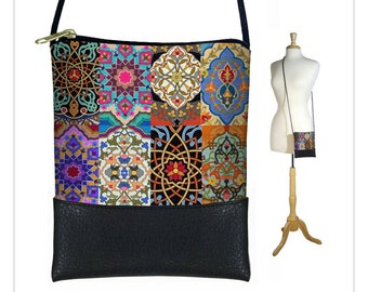 Boho Chic  Sling bag in Persian Patchwork, colorful jewel tone mini crossbody bag fits iPhone 6 Plus, small shoulder bag purse RTS