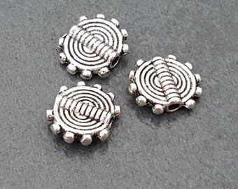 20 10mm antique silver metal beads